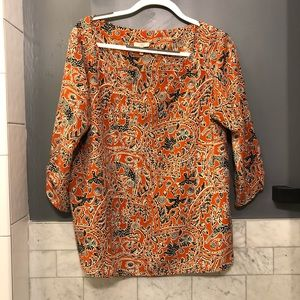 Joie orange and navy blue blouse